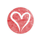 Heart vector icon with pixel print halftone dots texture.