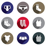 Male underwear vector icon set.