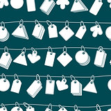 Sale tags on a rope seamless background, monochrome, single colo