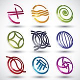 Abstract icons 3d designs vector set.