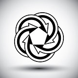 Five arrows loop conceptual icon, special abstract new idea vect