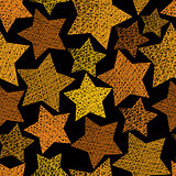 Golden stars seamless pattern, vector repeating background with