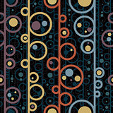 Disco style circles seamless pattern.