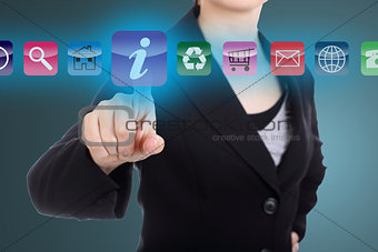 Business woman touch Order buttom