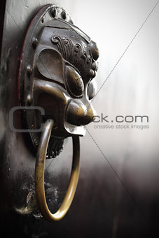 Close up Golden Chinese Old Door