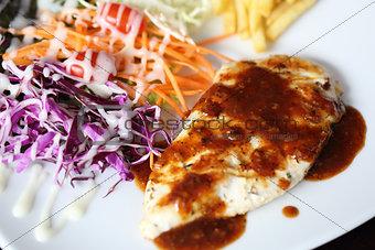 Fish fillet steak with vegetable