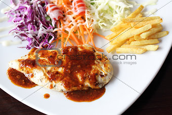 Fish fillet steak with vegetable