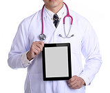 Doctor holding touch pad for check patient
