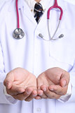 Medical doctor use hand cover your healthy concept