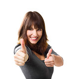 Woman doing thumbs up