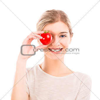 Beautiful woman holding a red chilli pepper