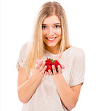Beautiful woman with strawberries