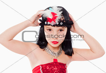 Little Girl in Wig and Red Dress in 1930ties Style
