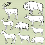 Set of monochrome wild and domestic animals