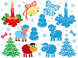 Set of Christmas and New Year stencils