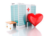 3d renderer. Hospital building and red heart