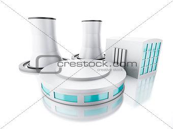 3d renderer illustration. Nuclear power plant