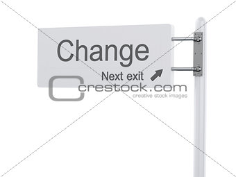 3D Illustration. Highway Sign, the next exit change. Isolated on
