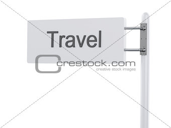 3D Illustration. Highway Sign, the next exit travel. Isolated on