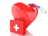 red heart, first aid kit and stethoscope. 3d illustration
