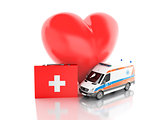 red heart, first aid kit and ambulance. 3d illustration