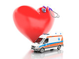 red heart, stethoscope and ambulance. 3d illustration