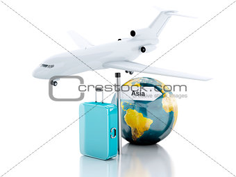 3d travel suitcase, airplane and world globe. travel to Asia con