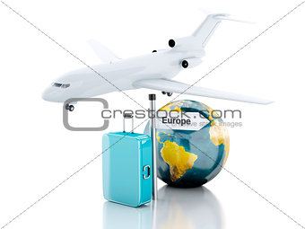 3d travel suitcase, airplane and world globe. travel to Europe c