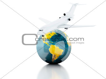 3d renderer illustration. airplane and world globe. travel conce