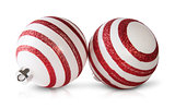 Two Red And White Christmas Balls