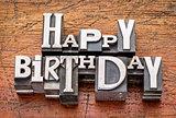 Happy Birthday in metal type