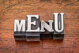 menu word in metal type