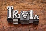 trivia word in metal type