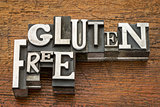 gluten free words in metal type