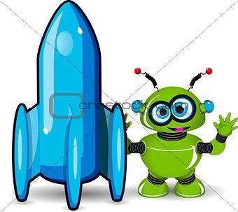 Green Robot and Rocket