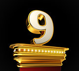 Number Nine on golden platform