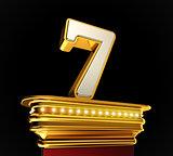 Number Seven on golden platform