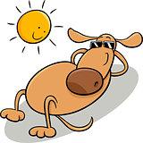 dog taking sunbath cartoon illustration