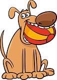 dog with ball cartoon illustration