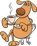 dog with coffeel cartoon illustration