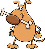 dog with bone cartoon illustration