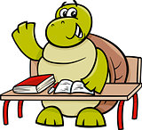 turtle raising hand cartoon illustration