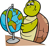 turtle with globe cartoon illustration