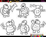 school turtle set cartoon coloring page