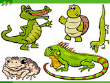 reptiles and amphibians cartoon set