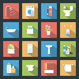Bathroom flat icons set