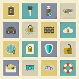 Cyber defense flat icons set