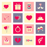 Valentine's day flat icons set