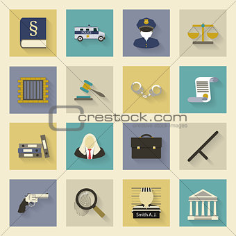 Law and justice flat icons set with shadows