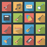 Musical Instruments flat icons set